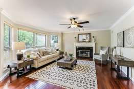 Large Bay Window and Gas Fireplace