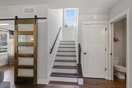 Staircase and Powder Room