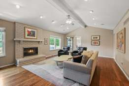 Brick Floor-to-Ceiling, Wood Burning Fireplace