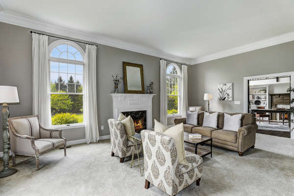 GRACIOUS LIVING ROOM OPEN TO LIBRARY