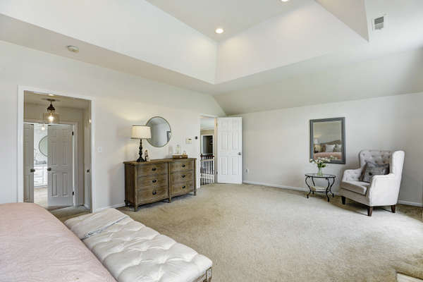 BOASTS TRAY CEILING AND FIREPLACE