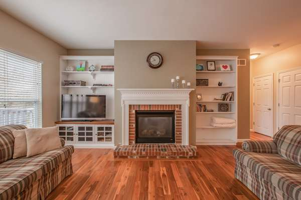 Gas Fireplace and Built-In Bookshelves