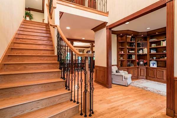 Custom Staircase with Iron Balusters