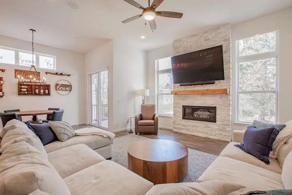 Floor to Ceiling Travertine Fireplace