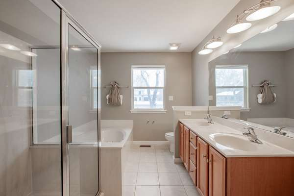 Luxury Master Bath with Dual Vanity, Jetted Tub & Separate Shower