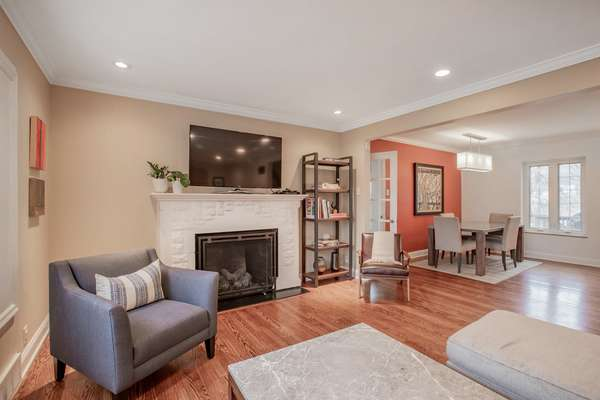 Gas Fireplace and Crown Molding