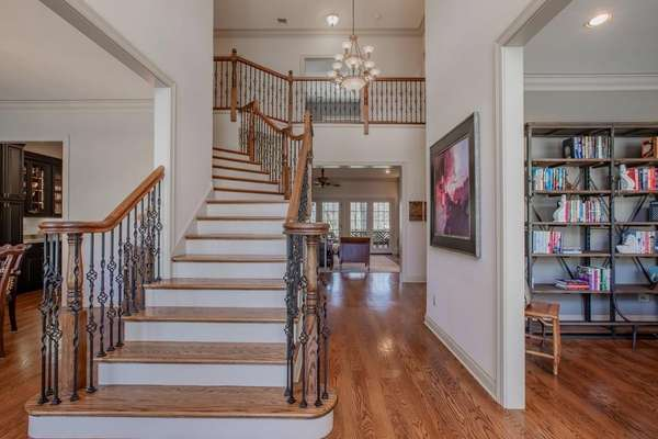 Handcrafted Staircase with Iron Balusters