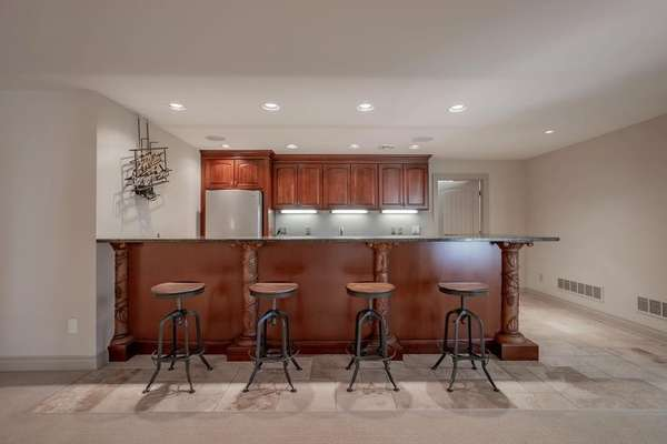 14 Foot Cheers Like Wet Bar with Hand Carved Columns