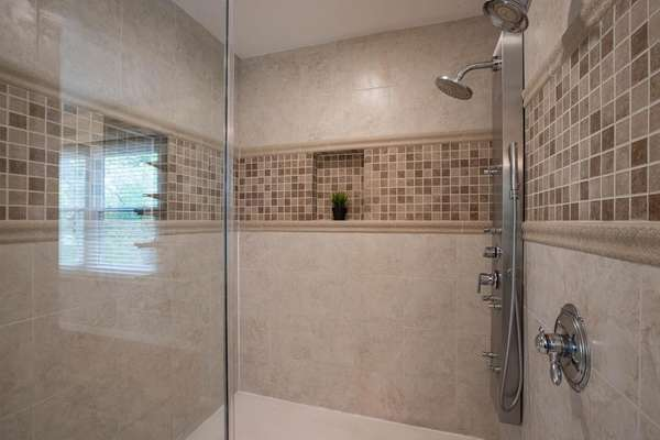 Walk-In Shower with Custom Tile Surround