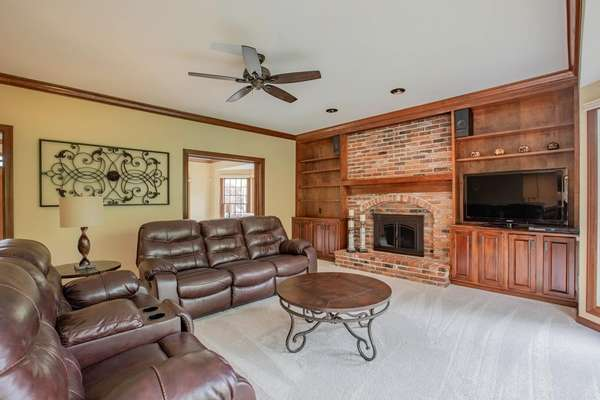 Family Room with Gas Fireplace and Built-in Bookshelves