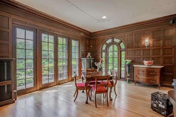 Huge Living Room, with Incredible Box-Paneled Walls