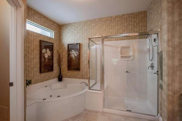 Separate Shower and Corner Jetted Tub