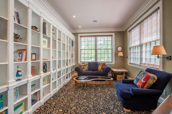 Study / Office with a Wall of Built-in Bookshelves
