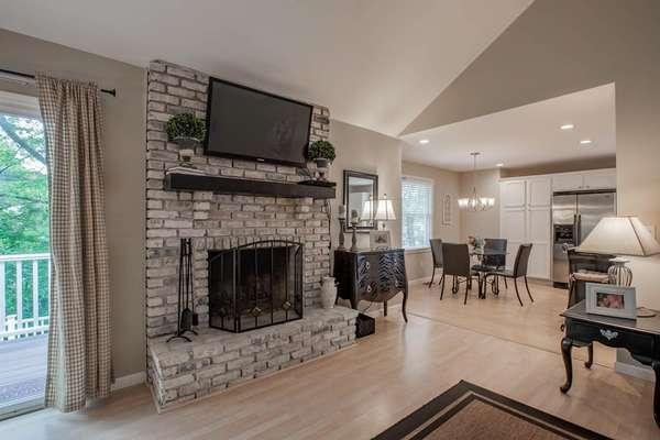 Whitewashed Brick Fireplace (Wood Burning)