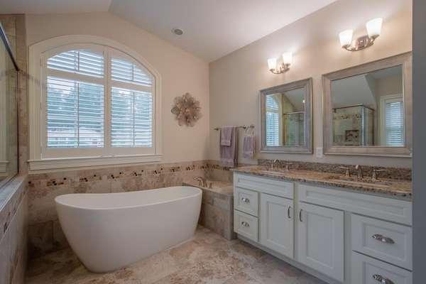 Designer Freestanding Tub, Double Vanity