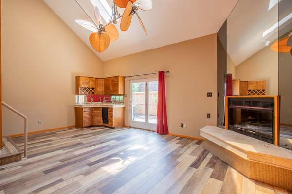 Large Wet Bar and Corner Gas Fireplace