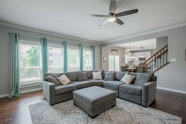 Family Room Offers Open Views of the Eat-In Kitchen