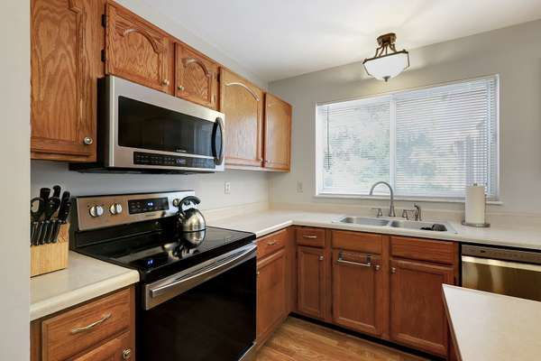 Stainless Steel Stove, Microwave, and Dishwasher