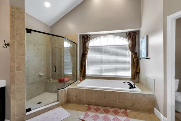 Soaking Tub, and Glass Shower
