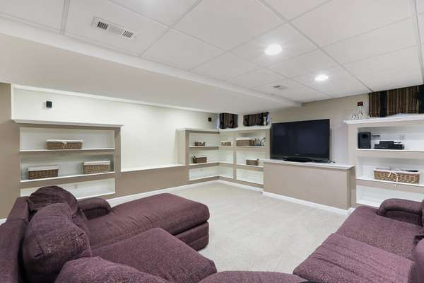 Rec Room with Built-in Shelves