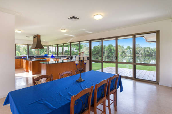 Informal dining area and kitchen. Amazing views